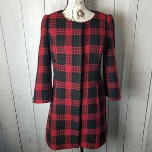 LOFT Red and Black Plaid Overcoat